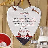 Personalized Heart Slate Wall Plaque - Recipe For A Happy Marriage - 4817