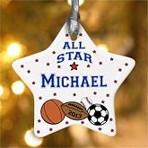 Personalized Sports Christmas Ornament for Boys - 4855