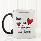 Personalized Coffee Mugs - You Make My Heart Smile - 4857
