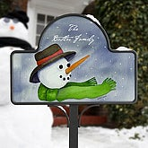 Snowman Personalized Holiday Yard Sign - 4921
