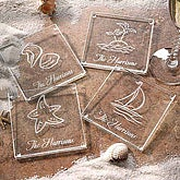 Engraved Glass Personalized Seashore Coaster Set - 4941