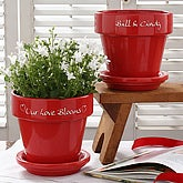 Personalized Red Flower Pot - Hearts Grow With Love - 4947