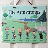 Illustrated Spring Family Character Personalized Wall Plaque - 4962