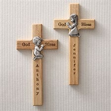 Personalized First Communion Wall Cross with Pewter Medallion - 5073