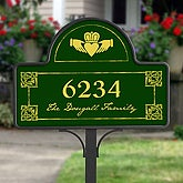 Personalized Address Plaque Yard Stake - Irish Claddagh