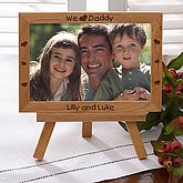 Personalized Engraved Wood Picture Frame with Easel - Little Hearts of Love for Him Design - 5132
