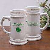 Personalized Irish Four Leaf Clover Ceramic Beer Stein - 5147