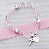 Personalized Faith And Love Silver Monogram Bracelet - 5196