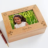 Personalized Girls First Communion Wooden Photo Box - The Day the Lord has Made - 5264