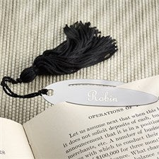 Engraved Silver Oval Bookmark with Black Tassels - 5448