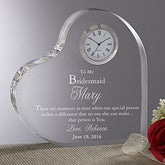 Personalized Bridesmaids Gifts - Engraved Heart Clock - 5450