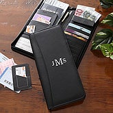 Personalized Leather Plane Ticket Travel Case with Monogram - 5452