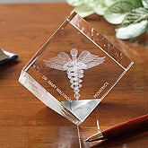 3-D Crystal Caduceus Personalized Medical Doctor Paperweight - 5549