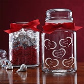 Personalized Candy Jar for Sweethearts - Conversation Hearts Design - 5587