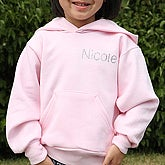 Girls Personalized Pink Hooded Sweatshirt with Rhinestone Name - 5670