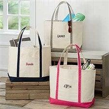 Monogrammed Canvas Tote Bags - Weekend Getaway - 5673