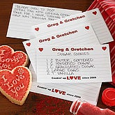 Printed 4x6 Recipe Cards - Cookin' Up Love Hearts Design