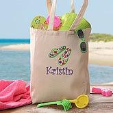 Kids Personalized Beach Tote Bag - Flip Flop Fun - 5694