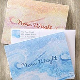 Waves & Sand Personalized Watercolor Note Card Set - 5744