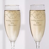 Personalized Anniversary Champagne Flutes - Engraved Crystal - 5769