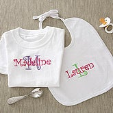 Personalized Embroidered Baby Clothes - Girls Name & Initial - 5792