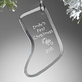 Personalized Glass Stocking Christmas Ornament - 5804