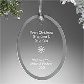 Personalized Christmas Ornaments - Oval Glass - 5807