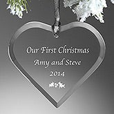 Personalized Christmas Ornaments - Glass Heart