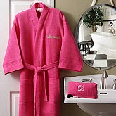Pink Waffle Weave Personalized Kimono Robe & Cosmetic Bag Set - 5842
