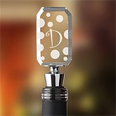 Polka Dot Monogram Wine Bottle Stopper - 5954