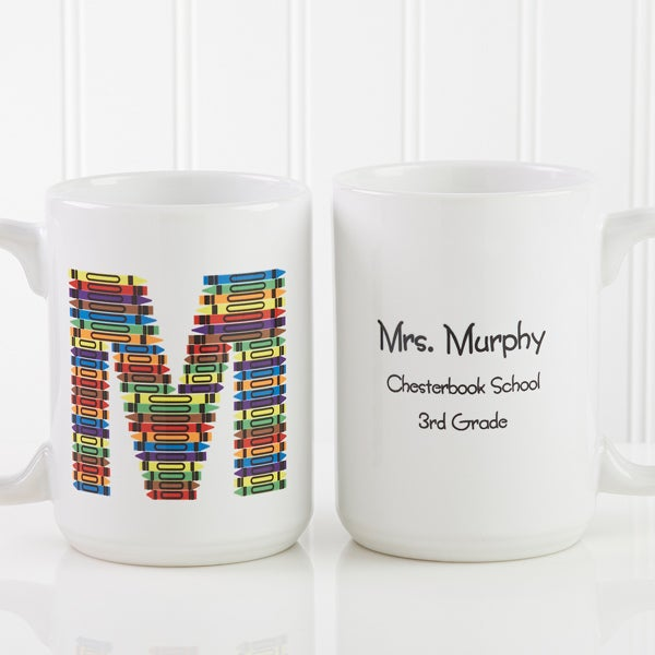 personalized coffee mugs for teachers crayon letter 10034