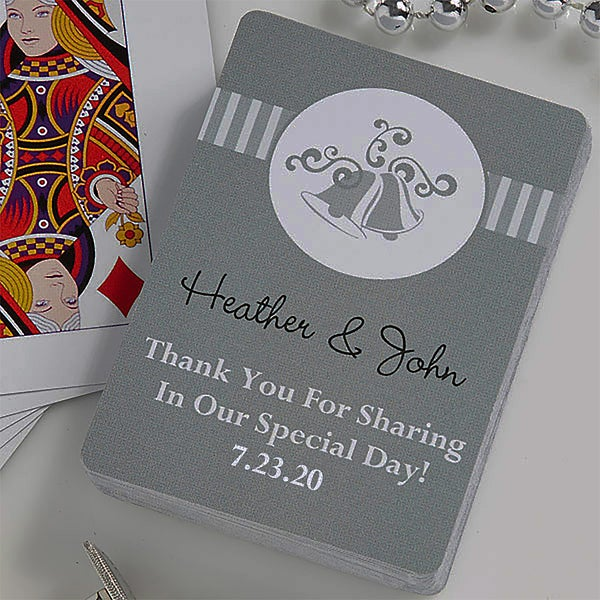 personalized wedding favor playing cards  bells