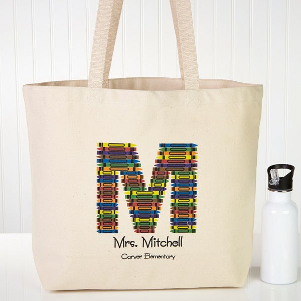 Personalized Tote Bags for Teachers - Crayon Letter - 10087