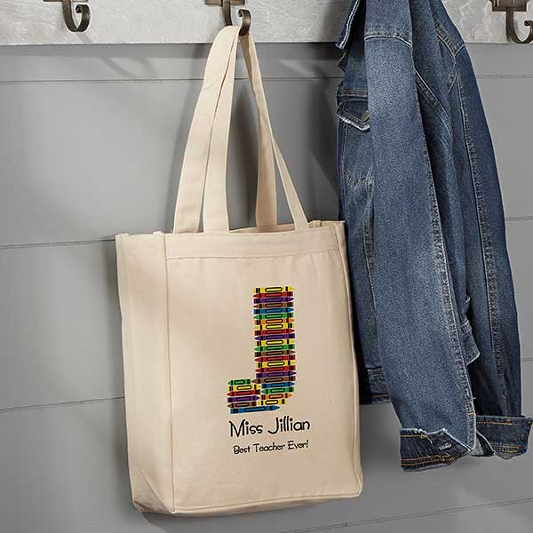 Crayon Letter Personalized Small Teacher Canvas Tote Bag