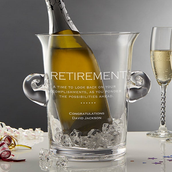 Personalized Crystal Chiller Ice Bucket Retirement Gift - 10106