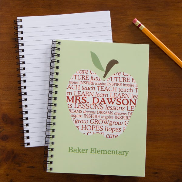 Apple Scroll Personalized Teacher Mini Notebook Set Of 4