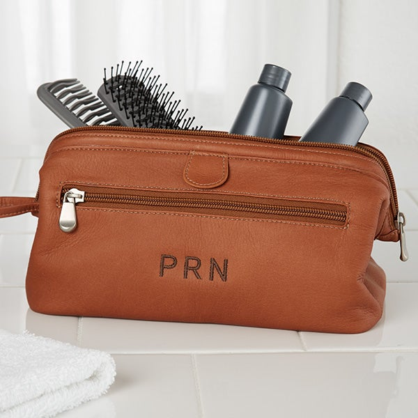 Embroidered Brown Leather Dopp Kit Travel Bag - 10215 7866ed3f16c29