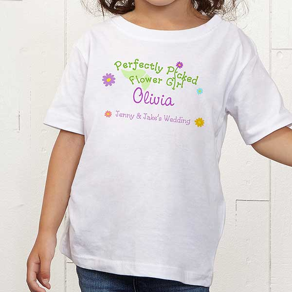 Personalized Flower Girl Wedding T-Shirt - Perfectly Picked - 10312