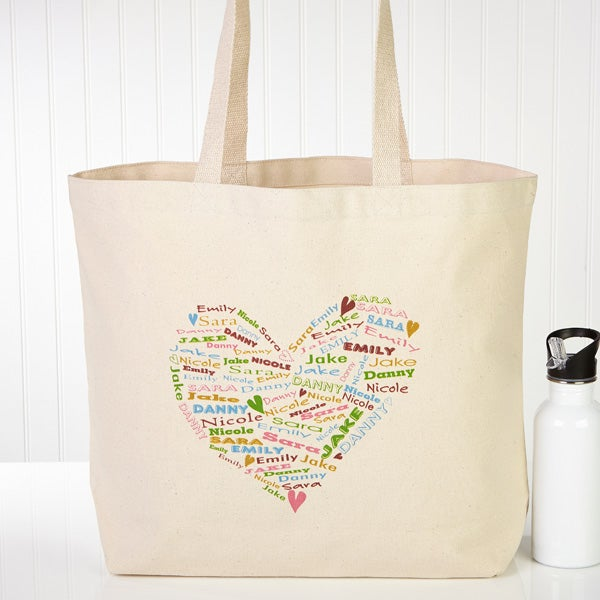 Personalized Canvas Tote Bag - Her Heart Of Love - 10352