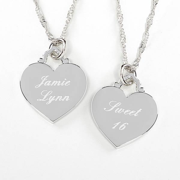 Personalized Birthday Necklace - Silver Heart - 10435
