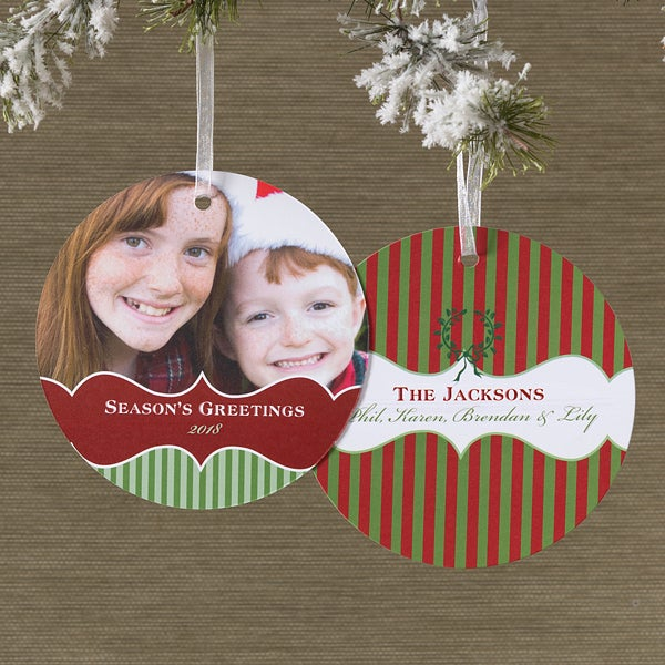 Personalized Hanging Ornament Photo Holiday Cards - 10584