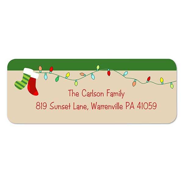 Christmas Return Address Labels.Stocking Family Return Address Labels