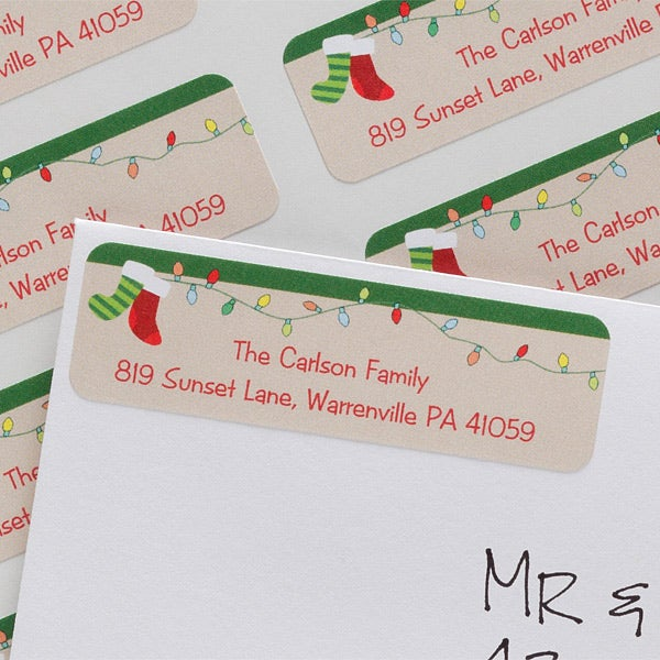 personalized holiday return address labels christmas stockings