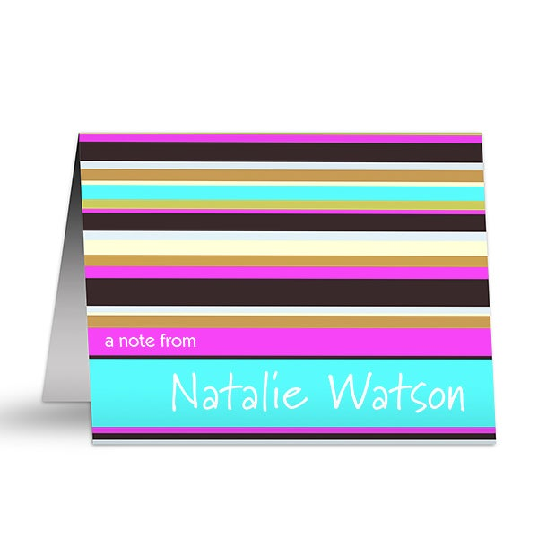 Personalized Stationery Note Cards - Stripes - 10689