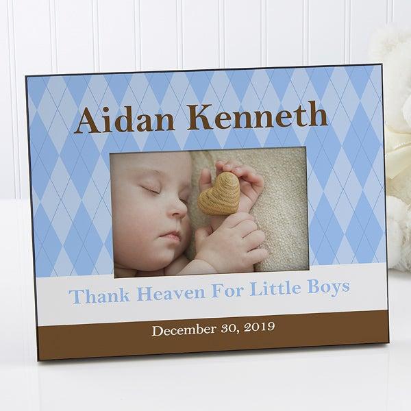 Personalized Baby Photo Frame - Classic Argyle - 10692