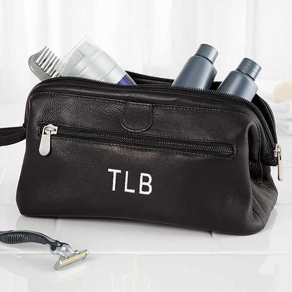 Personalized Toiletry Bag - Black Leather - 10728 0f7cc79524a18