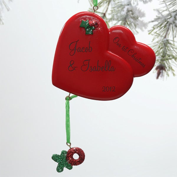 10757 - XOXO Christmas Hearts Personalized Ornament - Ornament: personalizationmall.com/extralargeimage.aspx?productid=12876&itemid...