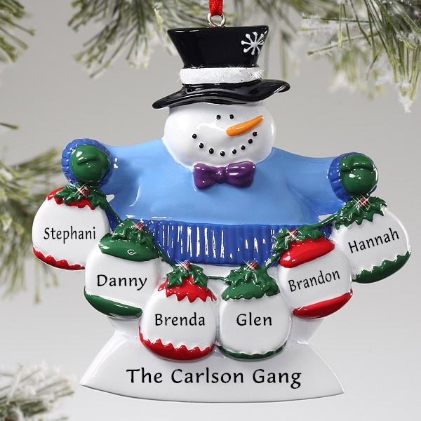 Christmas Decorations With Names On Them: Frosty Snowman Custom Christmas Ornament