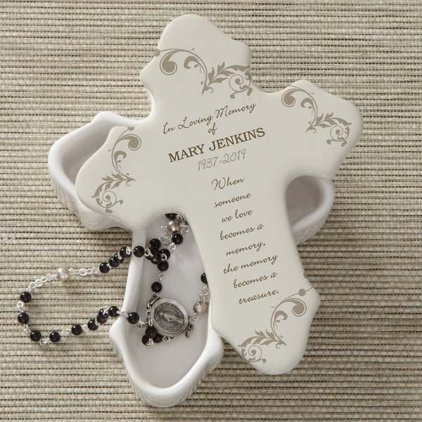 Personalized Cross Keepsake Box - Loving Memory - 10782