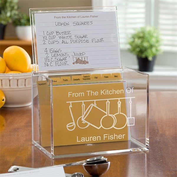 Personalized Acrylic Recipe Box - From the Kitchen Of - 10805